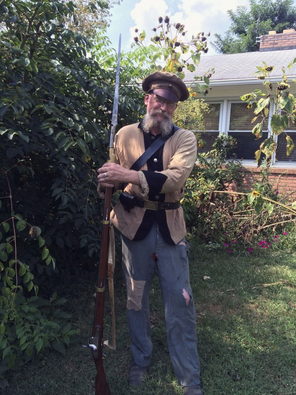 "Kenn Woods,  author of ""The Soldier's Words,"" has used historical methods found in his research to work on his own Confederate reenactment garb. Photo courtesy of Ashby Woods"