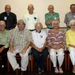 The Woodstock High School class of 1955 recently held its 60th year reunion. Shown here are, seated from left, Howard Hardy Lutz, Paul C. Fravel, Sophie Funkhouser Jones, Marie Laughlin Jones and Margaret Wright Cook. Standing are Robert S. Mowery, Franklin L. MIller, Daniel L. Baker and Harold E. Gochenour. Courtesy photo