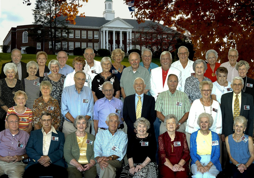The Warren County High School Class of 1955 celebrated its 60th reunion recently at the Front Royal Golf Club. Shown here, in the front row from left, are Richard Rowland, Henry Fix, Anne  Fitzgerald Poe, Kenneth Grove, Adele Winsboro Hatcher, Patricia Poe Miller, Cora Lou Armentrout Richards, Doris Stogdale Clark. Second row: Anna Johnson Raether, Lois Campbell Baker, Larry Pettit, John DeWitt, Richard Wetzel, Tom Wimer, Ann Licklider Alger, Doug Jones. Third row: Shadah Updike Sager, Carol Hammack Poulson, Jacque Reed Bowman, Patricia Ebaugh Werner, Joye Sutton Kaufman, Albert Bowers, Larry LeHew, Donna Eaton Clatterbuck, Alice Holsinger Buchanan, Norma Jean Ebaugh Williams. Fourth row: William Gilliam, Joanna Marlow Driggs, Donald Bowman, Lynwood Athey, Doris Priest Brown, Sam Duncan, Thomas Clark, Betty Belle Maddox Leckie, Landon Fadely.  Photo by Janie Miller