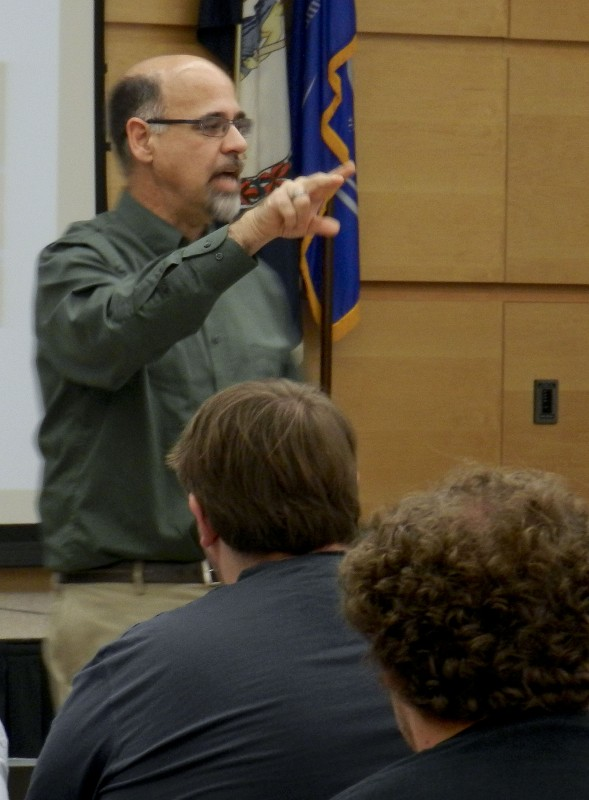 David Smith, independent educational consultant and peace building trainer, speaks to Lord Fairfax Community College students about conflict resolution on Thursday. Kaley Toy/Daily
