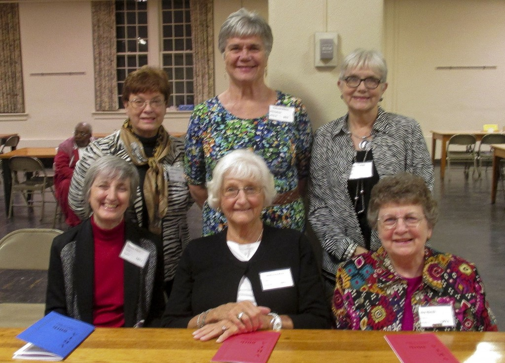 Attending the Virginia Retired Teachers Association's annual meeting from District G were, from front left, Marcia Elliott, Shirley Crawford, Bea Morris; and standing, Jackie Stephenson, Katherine Ralston and Karen Whetzel. Courtesy photo