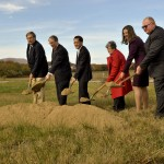 Richard H. Traczyk, left, chairman of the Warren County Board of Supervisors, Congressman Bob Goodlatte, Curt Tran, president of IT Federal LLC, Patricia Wines, chairman of Economic Development Authority, Jennifer McDonald, executive director of EDA, and Tim Darr, mayor of Front Royal, participate in the groundbreaking ceremony Monday at noon at Project Phoenix for the IT Federal construction.  Rich Cooley/Daily