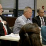 Del. Todd Gilbert, left, Shenandoah County School Board Chairman Richard Koontz, center, and state Sen. Mark Obenshain, right, meet with School Board members Wednesday morning to discuss education issues. Kaley Toy/Daily
