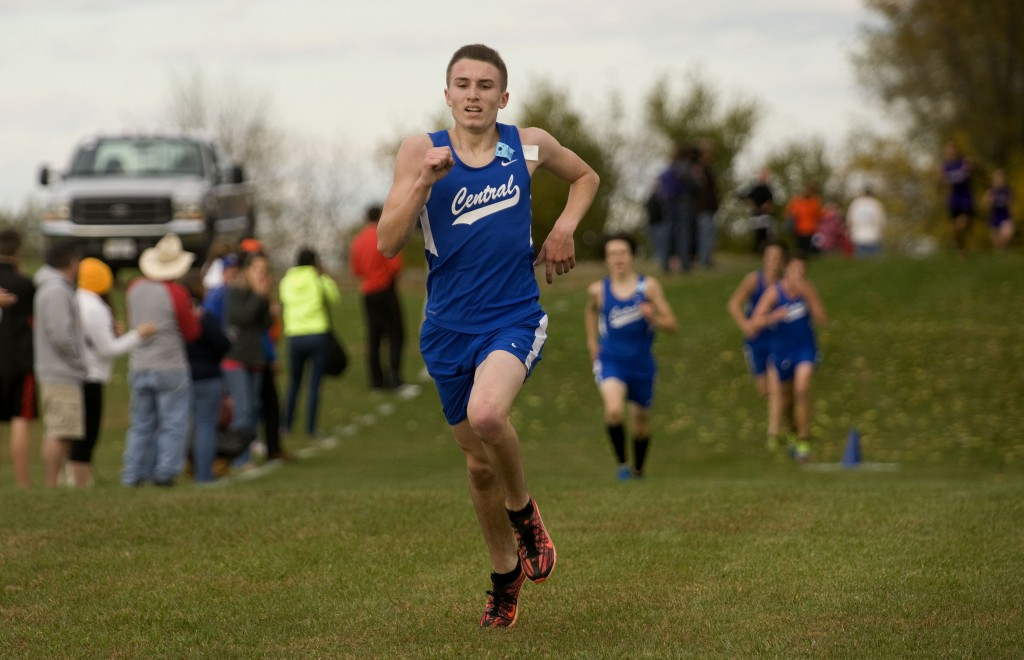 Central's Wyatt Robinson heads to the finish line during the Conference 35 cross country meet last week in Woodstock. The Falcons won the meet, and will be one of the many area teams vying for a state berth in regionals this week.  Rich Cooley/Daily file