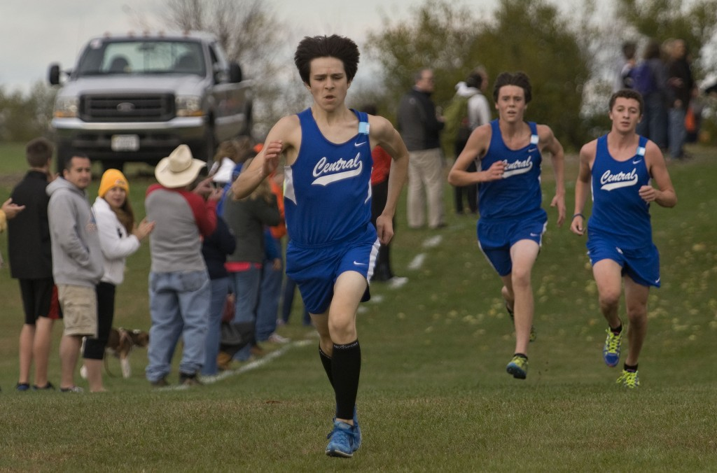 Central's Thomas Gilmore, left, Gus Wightman, center, and Ivan Alvarado, right, approach the finish line during the Conference 35 cross country meet last year. The Falcons finished second in the Group 2A state meet last year, and return four of their top five runners. Rich Cooley/Daily file
