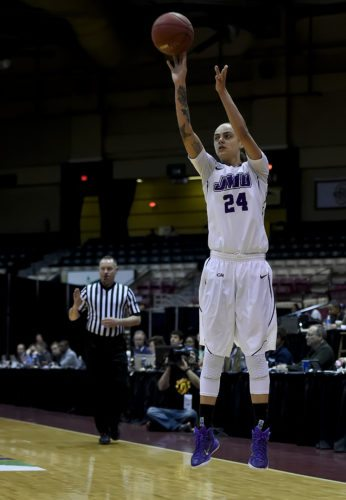 JMU's Jazmon Gwathmey, the preseason CAA Player of the Year, shoots during a game last season. The Dukes start their season Sunday by hosting Longwood University. Courtesy photo/JMU Athletics Communications