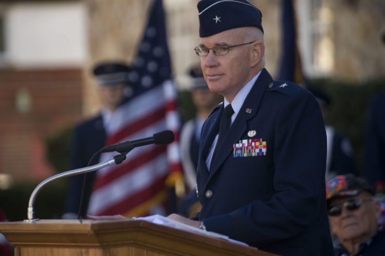 Retired U.S Air Force Brig. Gen. David C. Wesley addresses the crowd during a Veterans Day program outside Warren County Courthouse in Front Royal on Wednesday. Wesley is the president of Randolph-Macon Academy in Front Royal.  Rich Cooley/Daily
