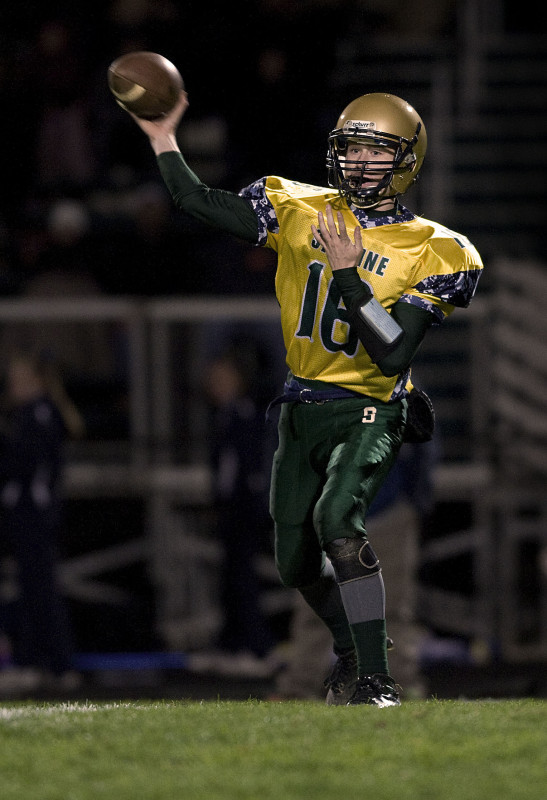 Skyline's quarterback  Dylan Hamman throws a pass during last Friday night's game against Culpeper. Hamman has led the Hawks into the second round of the playoffs. Rich Cooley/Daily file
