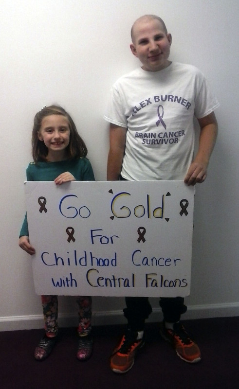 Central High School is hosting a fundraising event at 7:30 p.m. Dec. 17th during the varsity boys basketball game to raise money for the American Childhood Cancer Organization. There will be a ceremony for local survivors/warriors and their families.  Shirts are available for purchase until Dec. 7. To be a part of the ceremony, to buy a shirt or to help, call Vicki Burner at 540-459-7961. Shown here are  Kamdyn Thomas, left, a leukemia survivor, and Alex Burner, a brain tumor survivor. Courtesy photo