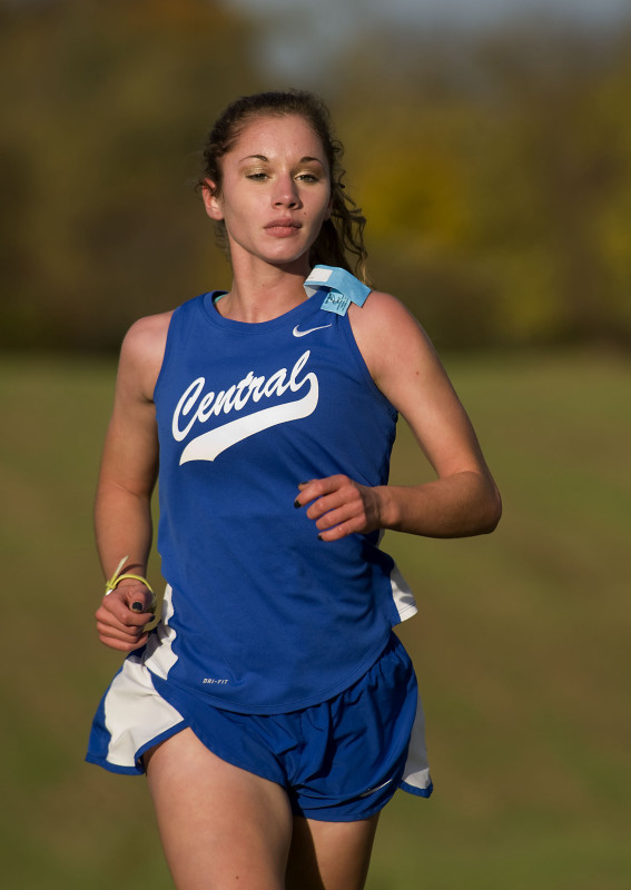 Central's Lexi Keller runs during a meet earlier this season. Keller placed 12th in the Group 2A state meet this season, and led the Falcons to an seventh-place team finish.  Rich Cooley/Daily file