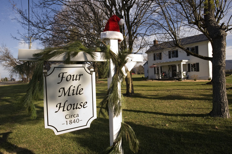 Four Mile House will be featured along the Strasburg Holiday Heritage Homes Tour on Saturday. The house was restored by Diane Laferriere and Bert Cole. Rich Cooley/Daily