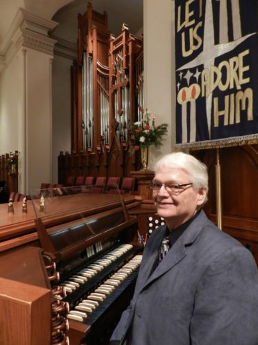 Grace Lutheran Church director of music and organist, Daniel Hannemann, said the stage at the historic church is set for his recitals as part of the first Candlelight Tour of Historic Houses of Worship in Winchester. Rachel Mahoney/Daily