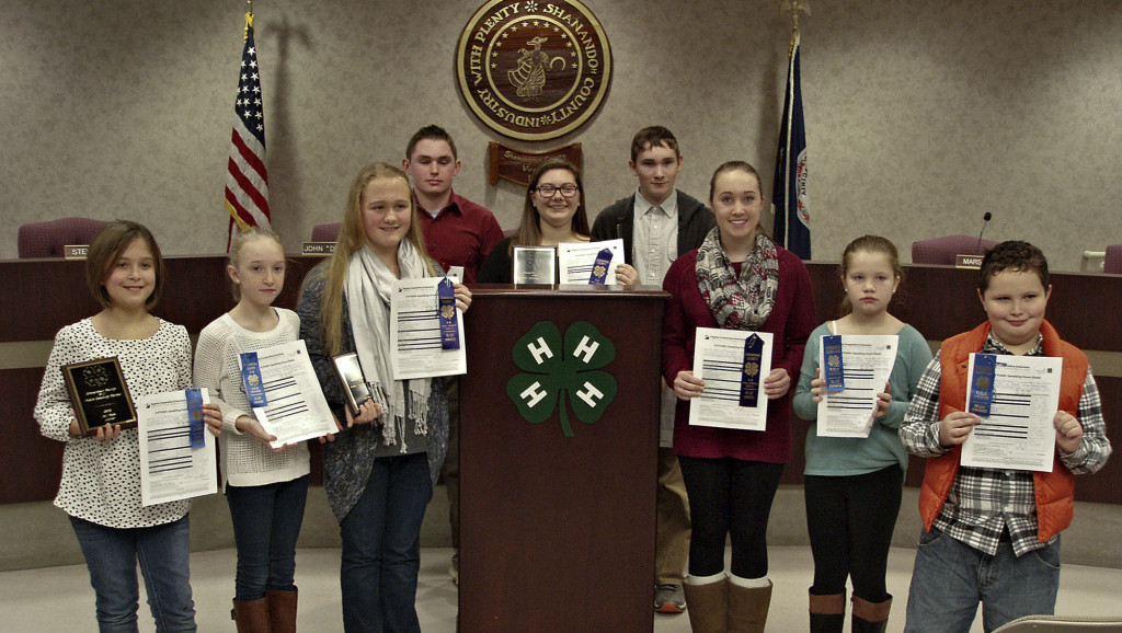 Shown here, from left, are Shenandoah County 4-H public speaking contest participants  Erin Reiley, Kerrigan Bauserman, Anna Rankin, James Clark, Hannah Orndorff, Sam Clark, Sabrina Bauserman, Erin Van Norton and Mason  Fisher. Courtesy photo