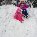 Autumn Goodman, 6, and Leah Goodman, 14 months, of Woodstock, enjoy playing in the snow on Saturday.  Courtesy photo by Donna Goodman
