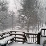 Snow coats this deck in Basye. Photo courtesy of Bobbi Bynaker