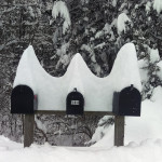 Snow creates an interesting  pattern atop these mailboxes on Fleming Road in Mount Jackson. Photo courtesy of Earl Pridgen