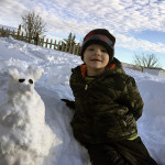 Gunnar Hockman, 4, of Strasburg, shows off his very first snow mouse. Photo courtesy of Tiffany Hockman