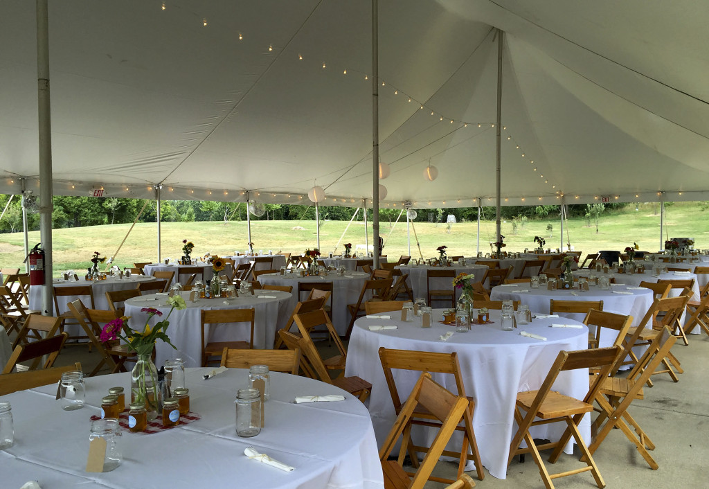 Tent cover is a must for any outside event, like at this wedding taking place at Museum of the Shenandoah Valley in Winchester. Photo courtesy of Amy VanMeter