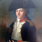 This portrait shows an officer, with a musket-ball hole in his right shoulder, standing before a burning town.  Courtesy photo by Richard Hoover