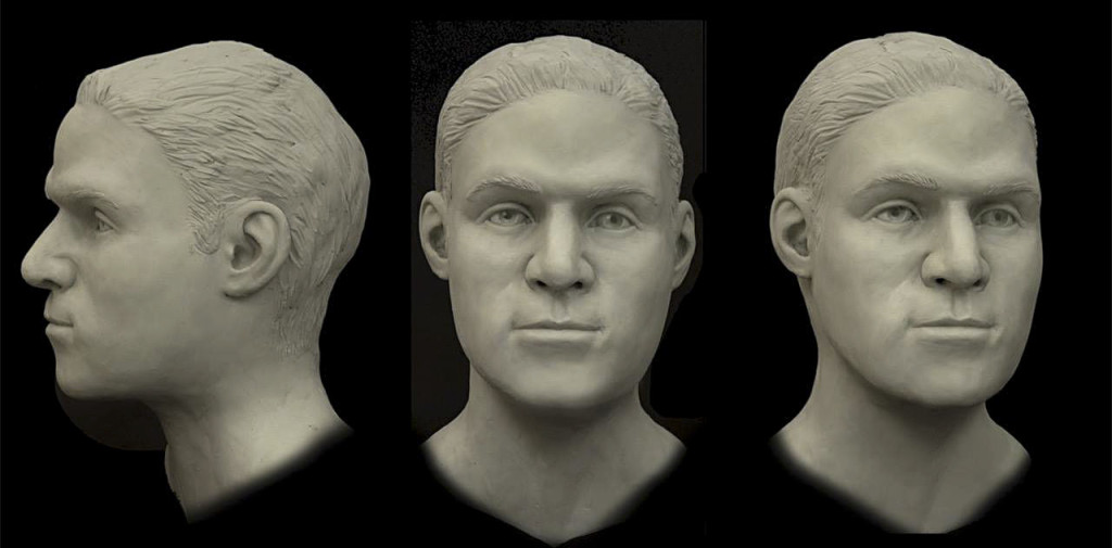 A facial reconstruction model of a human skull by the FBI in Quantico is shown. The skull was found in the George Washington National Forest almost five years ago.  Courtesy photo
