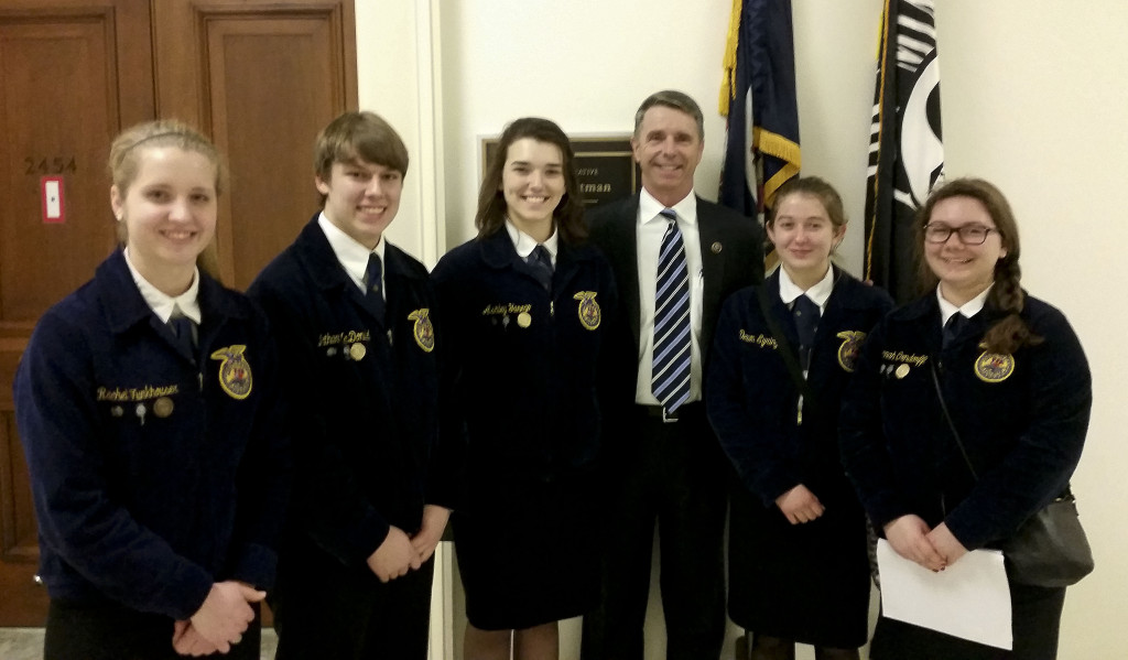 The Strasburg High School FFA members visited Washington, D.C., recently to advocate for agricultural education programs.  Shown during their visit are, from left, Rachel Funkhouser, 18; Nathan McDonald, 16; Ashley Yanego, 17; Brent Robinson, legislative director for U.S. Rep. Rob Whitman of Virginia's 1st District; Devon Eyring, 16; and Hannah Orndorff, 16. Courtesy photo