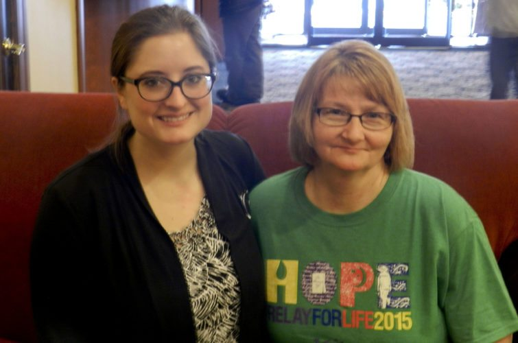 Kaitlin Pomerleau, community manager for the American Cancer Society, left, and Josette Miller, a New Market resident and advocate for cancer research, are seeking volunteers for Relay for Life of Shenandoah County. Kaley Toy/Daily