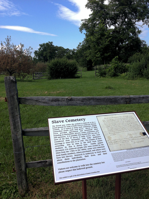 The slave cemetery at Belle Grove Plantation obtained its own signage last year and ties into a new exhibit focused on slavery at the historical site. Photo courtesy of Kristen Laise