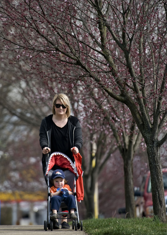 Satasha Orndorff and her son J.P. Lindsay, 19 months, stroll along this section of West King Street in Strasburg as plum trees start their spring budding.   Rich Cooley/Daily