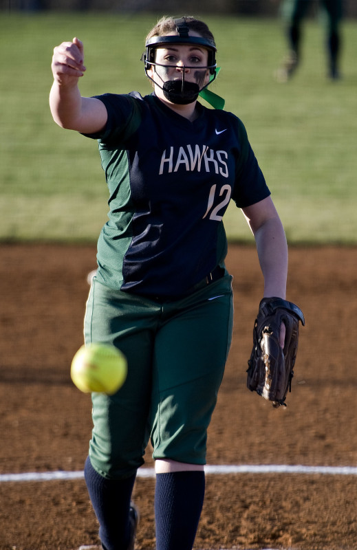 Skyline pitcher Tamara Grayson fires a pitch during a game against Brentsville on March 18 at Skyline High School. The Hawks play rival Warren County in a key Conference 28 matchup Wednesday night.   Rich Cooley/Daily