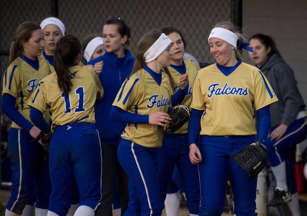 Central's softball team celebrates after a win against Skyline earlier this season. The Falcons take on Glenvar in the Group 2A state semifinals on Friday in Salem.  Rich Cooley/Daily
