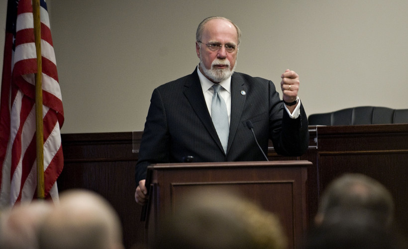 John Reinhart, CEO and executive director of the Virginia Port Authority, addresses state and local officials at the Warren County Government Center on Thursday. Reinhart gave an update on the status of Virginia's ports. Rich Cooley/Daily