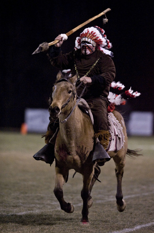 Dennis Page rides his horse Dane in a 2013 photo during Sherando's game against Courtland. Dane died on Wednesday.   Rich Cooley/Daily file