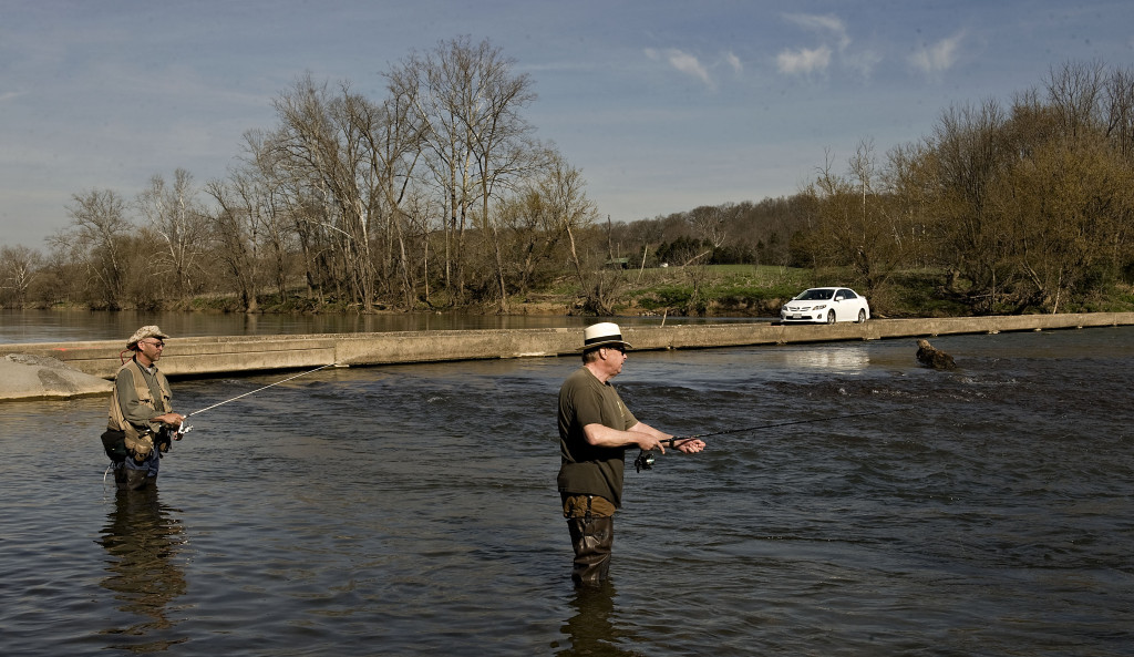 Mark Tenaranda, left, and Dave Melander, both of Manassas, fish along the Shenandoah River at Morgan Ford on a recent morning.  Rich Cooley/Daily