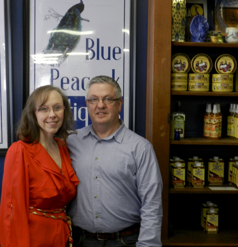 Tanya and Scott Singleton, owners of the Blue Peacock in Winchester,  have more than 30 vendors selling a variety of antiques in the shop.  Nathan Budryk/Daily