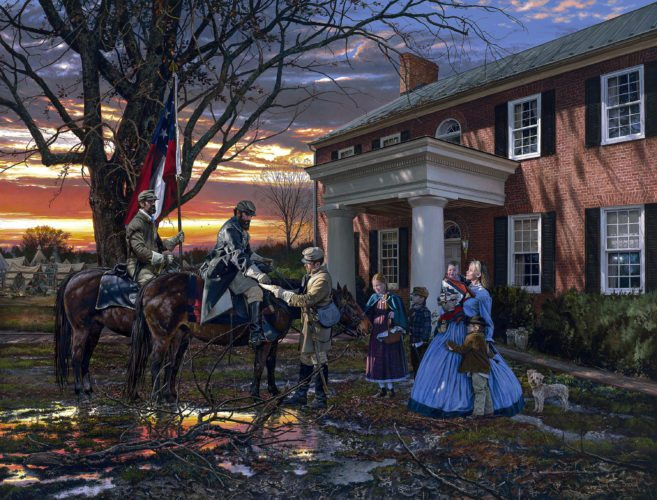 "This painting, titled ""Evening Orders in Strasburg,"" is by artist John Paul Strain. He will be at Hupp's Hill Civil War Park and Museum in Strasburg on Saturday and at King James Galleries of Winchester on Sunday for discussion and signings. Courtesy photo"