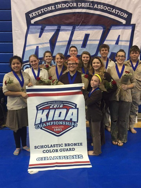 The Shenandoah Valley winter guard, composed of Warren County and Skyline high school students, celebrate their championship win in the Keystone Indoor Drill Association's bronze classification on April 2. From left are Ale Carino, Amanda Weatherholt, Madelynn Burke, Maddy Kurtz, Hayley Barrientez, Scott Ruybalid, Alex Riley, Carmody Maddox, Emma Ontiveros, Justin Bigwood, Ashlynn Trenary and Chase Matchett. Photo courtesy of Ben Lombardo