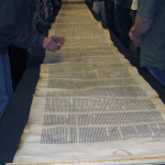 The 600-year-old Lodz Scroll was made of several calf skins sewn together to form a 72-foot-long manuscript. Courtesy photo by George Bowers Sr.