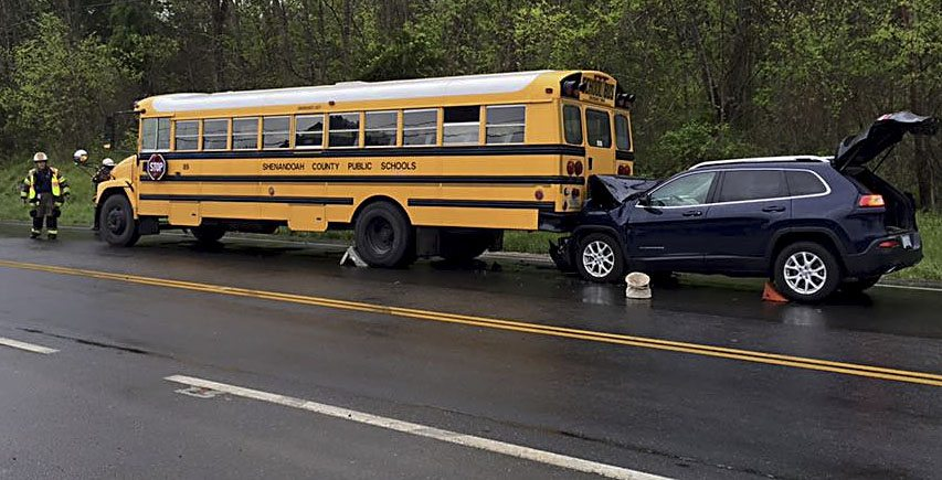 A child was transported to the hospital after a vehicle struck a stopped Shenandoah County school bus Wednesday on U.S. 11.   Photo courtesy of Shenandoah County Sheriff's Office
