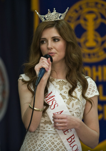 Cameron Smith, Miss Apple Blossom 2016,  sings Unforgettable to Queen Shenandoah designate LXXXVIX Ahna Cameron  during the Queen's Dinner held Thursday night at the Best Western Lee-Jackson in Winchester. The event, which is hosted by area civic clubs,  was sponsored by The Village at Orchard Ridge, The Northern Virginia Daily, and Barefoot Wine  Rich Cooley/Daily