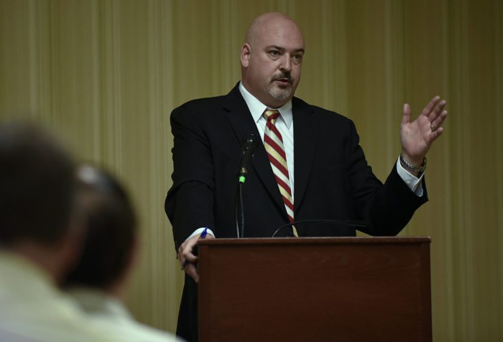 Delegate Todd Gilbert, R-Woodstock, speaks during the legislative breakfast held by the Front Royal-Warren County Chamber of Commerce on Thursday at the Holiday Inn & Suites in Front Royal.  Rich Cooley/Daily