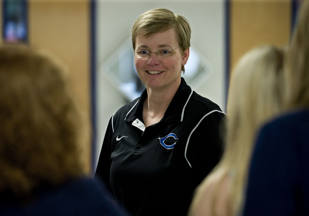 Central High School Principal Melissa Hensley chats with students inside the hallway of Central High School in May. She is a finalist for National Principal of the Year.  Rich Cooley/Daily