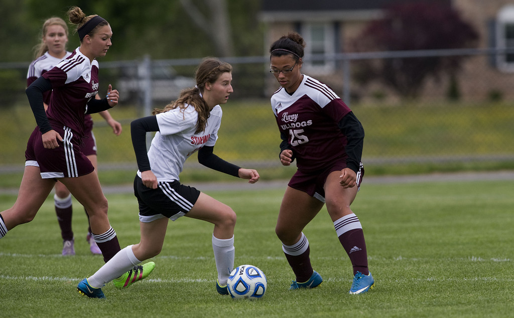 Stonewall's Jailyn Dellinger moves the ball around Luray's Desiree Freeman on Tuesday in Quicksburg. The Generals host Madison County in the Conference 35 tournament quarterfinals at 6 p.m.  today. Rich Cooley/Daily