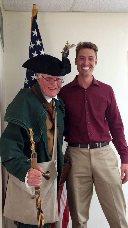 Middletown resident Larry W. Johnson, left, attends a Middletown Town Council work session Tuesday evening dressed in period clothing like his great-great-great-great grandfather Abel Johnston might have worn while fighting for freedom against the British in the Revolutionary War. The council granted Johnson permission to read the Declaration of Independence at the town's July Fourth celebration. Pictured at right is Middletown Mayor Charles Harbaugh IV.   Jake Zuckerman/Daily