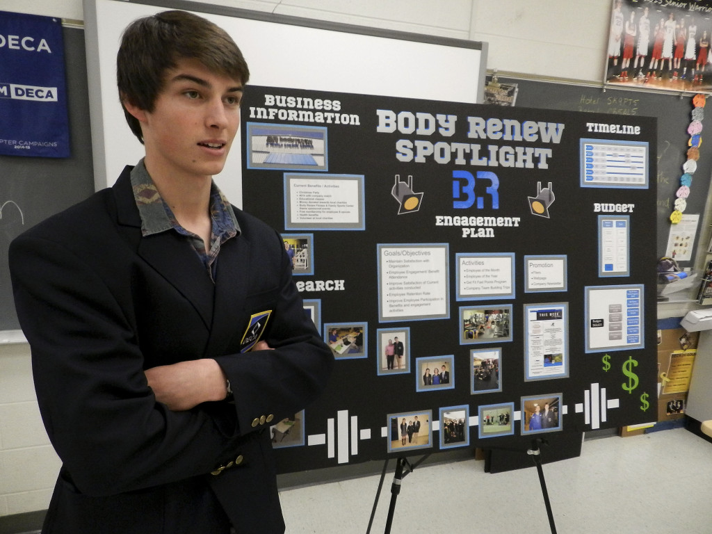 Graduating Sherando senior Jeremy Linaburg talks about his experience presenting his DECA group project at the International Career Development Conference in Nashville, Tennessee, late last month. Rachel Mahoney/Daily