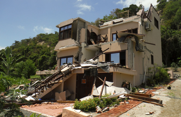 This is the home of Karl, Lora and Faith Evans in Coco Beach Village, Ecuador, after it was destroyed by an earthquake last month. The family is now living in Strasburg.  Courtesy photo