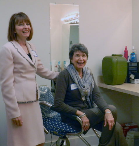 Vonderene Swigart, Winchester Little Theater board of director's development chair, left, and Marjorie Lewis, honorary chair of restoration, right, take a look at one of the new dressing rooms. Kaley Toy/Daily