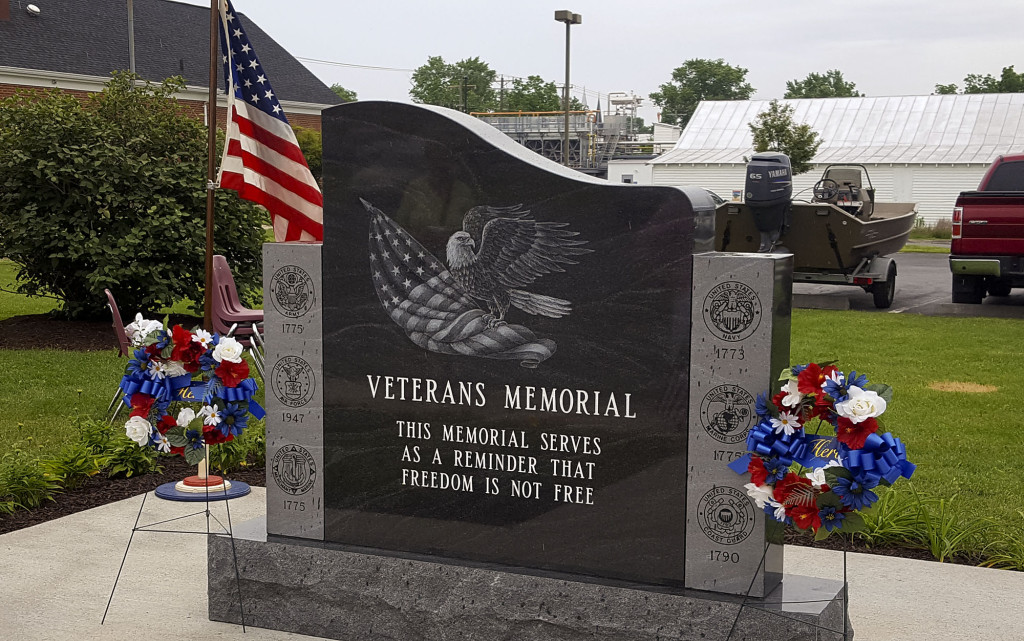 The New Market American Legion Post 166 Ladies Auxiliary unveiled and dedicated the Veterans Memorial May 29. The auxiliary raised $15,000 in donations. The monument is located behind the New Market Town Hall. Courtesy photo