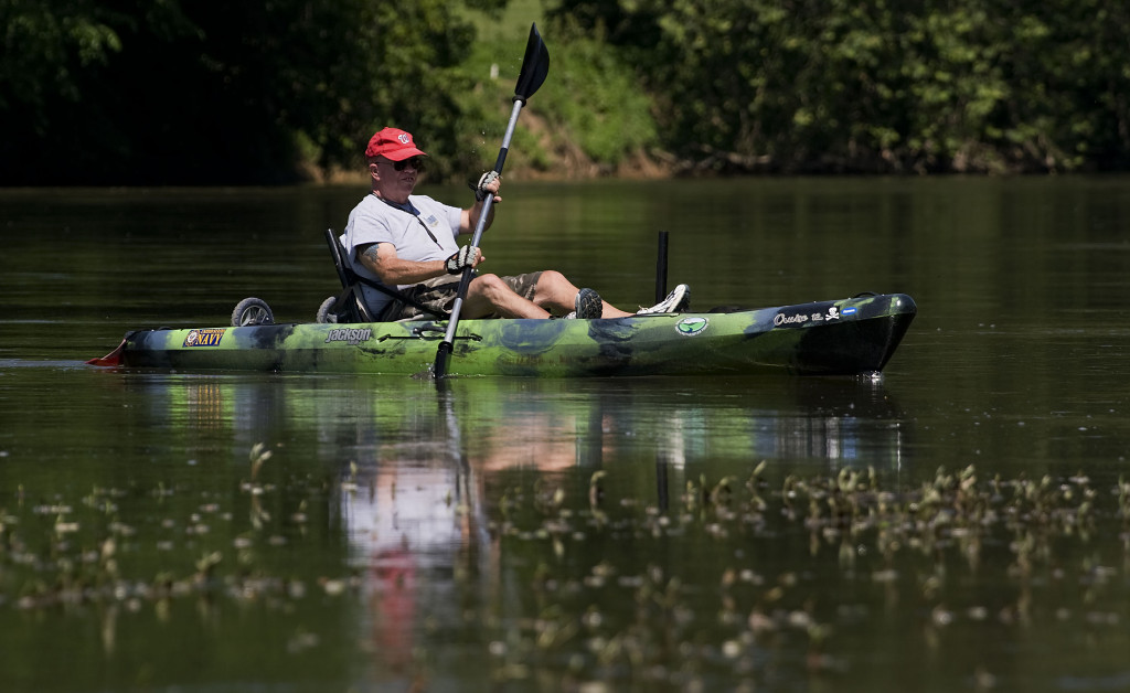 Richard Jacobus, of Front Royal, paddles his kayak along the South Fork of the Shenandoah River recently.   Rich Cooley/Daily