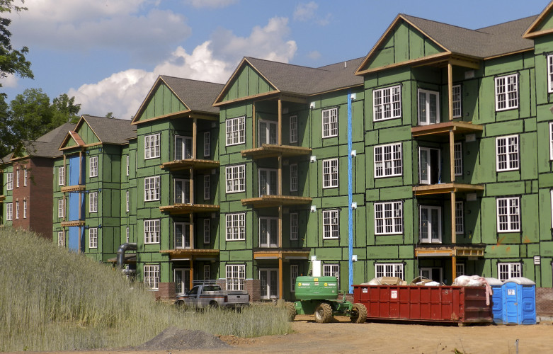 Crews continue to work on the residential expansion at The Village at Orchard Ridge. This expansion will add at least 80 new apartments, all of which have been reserved. Nathan Budryk