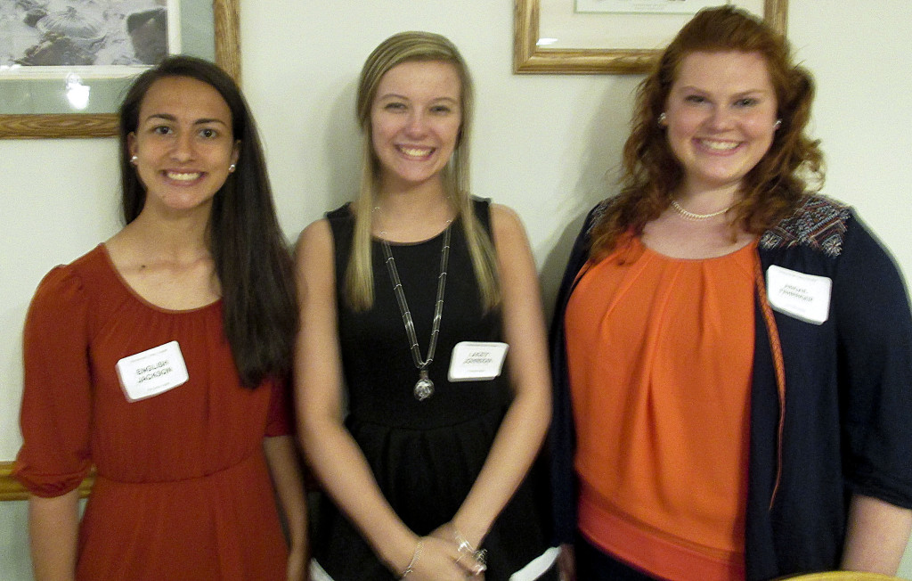 From left, English Jackson, Lacey Johnson and Abagail Fahringer have been awarded scholarships by the   Shenandoah Valley Chapter of Phi Delta Kappa International. Courtesy photo